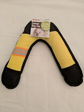 New Canvas Yellow Squeak Boomerang Fetch Toss Pet Dog Puppy Toy Indoor / Outdoor