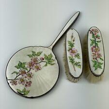 More details for vintage silver plated floral enamel dressing set hand mirror cloths brush a/f