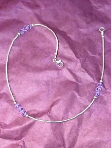 925 Sterling silver anklet with nine sparkly beads
