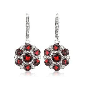 925 Silver Gemstone and White Topaz Flower Leverback Earrings