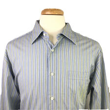 Lorenzini Italian Mens Green & Blue Striped L/S Shirt Size 17.5 / 44  Cotton