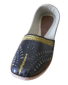 Indian Flip-Flops Men Shoes Mojari Handmade Leather Punjabi Jooti Flat US 9