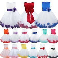 Girls Princess Bridesmaid Baby Flower Dress Wedding Formal Petals Lace Dresses