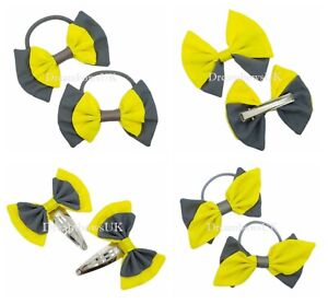 Grey and yellow school hair bows Accessories Girls hair bows Bobbles or clips