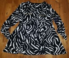NWT Women's Tawny Zebra RAFAELLA L/S Roll Tab Polyester Blouse Top Size Large L