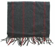 Coach 83136 Men's All Over Ticking Gray Red Striped Lambswool Fringed Scarf Wrap