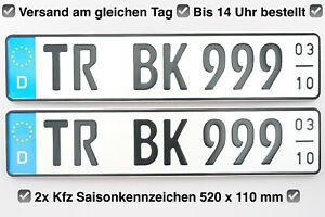 ☑️ 2x Kennzeichen Saisonkennzeichen I 520x110mm I AUTO PKW LKW BUS Wohnmobil ☑️
