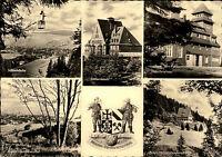Oberwiesenthal mit Sachsenbaude, Fichtelberghaus, Schwebebahn DDR Postkarte 1958