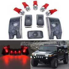 For 2003-2009 Hummer H2 5pcs Smoke Roof Cab Marker Light Lens + RED LED Bulbs