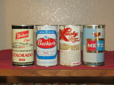 4 different tab top beer cans Walter's Light Becker's Zip top Lucky Lager Metz
