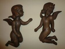Burwood Products Angel Wall Hanging Plaque Set Of 2 Plastic Faux Wood Grain 15""