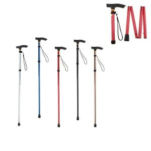 Height Adjustable Easy Folding Aluminium WalkingStick Metal Cane Lightweight