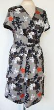 VINTAGE SZ 16 - B&W, GREY/TAUPE/ORANGE STRETCH DRESS wX-OVER V NECK & TIE BELT