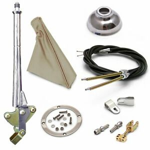 FORD 11 inch Trans Mnt E-Brake HandleTan Boot, Cap, Chr Ring, Cable Kit Clevis