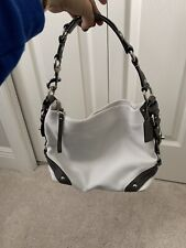 "COACH White and Grey Leather Hobo Purse ""Carly"" Slouchy Shoulder Bag Handbag"
