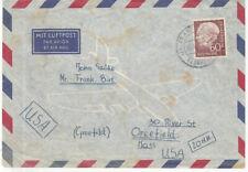 BRD Heuss Brief : Luftpost Ausland Frankfurt > USA