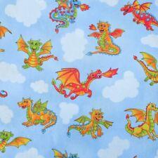 Fat Quarter Dragon Quest 100% Cotton Quilting Fabric Happy Cute Baby Dragons