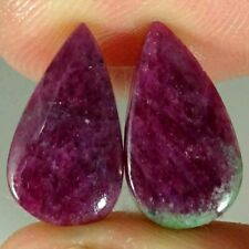 12.10Cts Natural Ruby Zoisite Pear Pair Cabochon Loose Gemstone