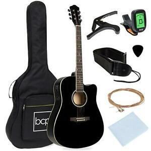 Acoustic Electric Cutaway Guitar Set With Capo E-Tuner Bag 41 Inch Instrument