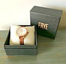 NIB FRYE SAPPHIRE CRYSTAL 36mm Rose-Gold Brown Leather Strap Watch FR00019-06
