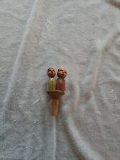 Vintage Anri Wood Cork Dual Man Suits With Tongue Mechanical Wine Bottle Stopper