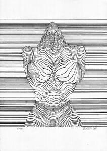 original drawing A3 50NA line art samovar Ink Modern female nude Signed 2021