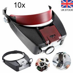 10X Magnifying Glass Headset LED Light Head Headband Magnifier Loupe With Box UK