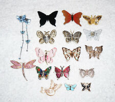 x17 BUTTERFLY LOT Brooch Pin HUGE COLLECTION Antique Bling Rhinestone Metal Fly