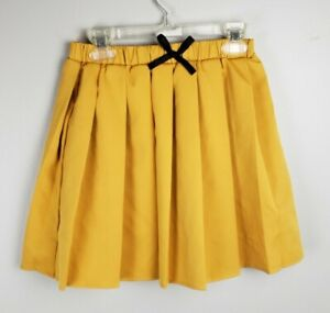 Yellow Pleated Short Skirt with Black Bow Girls Size M (10-12)