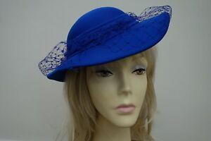 Vintage royal blue with bow trim hat , ideal wedding/races vgc
