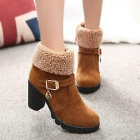Fashion Womens Ladies Winter Warm Fur Lined Ankle Boots High Block Heels Shoes H