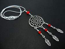 "Necklace On 18"" Snake Chain. A Lovely Tibetan Silver/Red Coral Dreamcatcher"