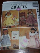 """McCALL'S #3275- PRETTY 18"""" DOLL NIGHTGOWN-QUILT-PURSE - 3 STYLE DRESS PATTERN FF"""