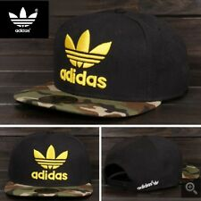 Embroidered Adidas Trefoil Snapback Flat Cap Black Camo: One Size Fits Most