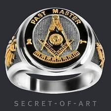 Past Master Ring Freimaurer Masonic 925 Sterling Silber mit Gelbgold-Plattierung