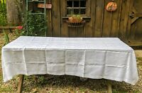 """Vintage White Floral Pattern Tablecloth 92 X 64"""" Large Rectangle"""