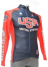 Cuore Team USA Cycling Thermal Long Sleeve Jersey Men Blue Road Bike MTB Gravel