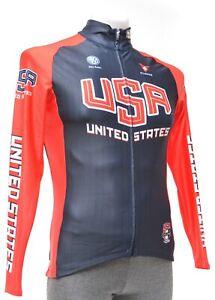 Cuore Team USA Cycling Thermal Long Sleeve Jersey Men Blue Road Bike MTB Gravel