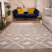 Grey Rugs for Living Room | Moroccan Scandi Style Runner Rugs | Luxurious Rugs