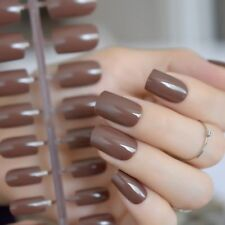 UV Gel Candy Color False Nails Tip Shiny Nude Square Press-On Nail Hand Care New