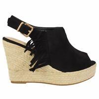 Womens Ladies High Wedge Heel Sandals Summer Girls Tassel Open Toe Shoes Strap