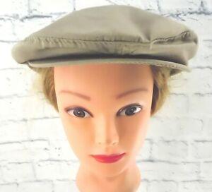MEN'S BEIGE Dorfman Pacific Handmade Cabbie / Newsboy Cap Hat with Brim Snap