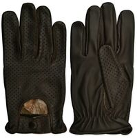 Real Leather Mens Chauffeur Car Bus Driving Gloves Classic Perforated Style