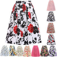 Vintage High Waist Knee Length Pleated Full Circle Swing A-Line Midi Skirt Dress