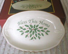 """Lenox Christmas Tray """"Bless This Home� Holly"""