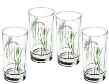 4 Corelle SHADOW IRIS 16oz Glass GLASSES Hi-Ball Weighted TUMBLERS Purple Floral