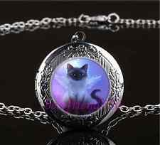 Fairy Cat  Photo Cabochon Glass Gun Black Chain Locket Pendant Necklace