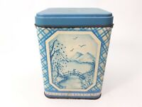 Vintage - Tin Tins Box Container - Century Resources - Asian Oriental Theme Blue