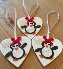 3 X Penguin Christmas Tree Decorations Shabby Chic Real Wood Heart Red Bows