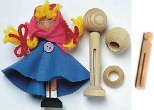 Unfinished Natural Wood CLOTHESPIN DOLL PINS STANDS & HEADS Makes 10 Total Dolls